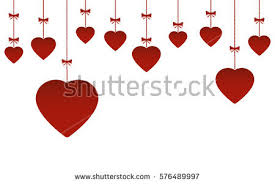 valentines day hanging hearts ornaments stock vector 569052172