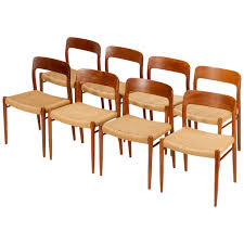 Dinette Chairs by Eight Danish Dining Chairs Model 75 By Niels Moller In Teak And
