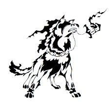 tribal angry wolf design