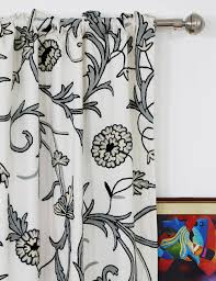 Cotton Curtains And Drapes Manasbal Handmade Crewel Curtain Panel Wool Embroidered Cotton Fabric