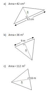 triangle problems worksheet and solutions base height u0026 area