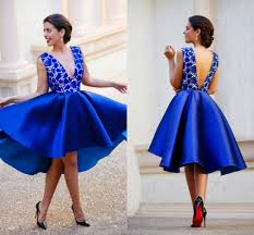 deep v neck lace party dresses royal blue hi lo applique open