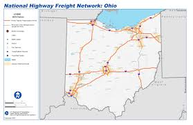 State Of Ohio Map by National Highway Freight Network Map And Tables For Ohio Fhwa