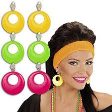 eighties earrings neon earrings stud earring 80s green green eighties fashion