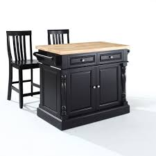 kitchen island furniture crosley furniture kf300062bk oxford butcher block top kitchen