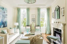 living room minty living room features pastel green curtains also