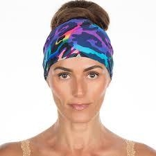 workout headbands blue neon cheetah non slip boho wide workout headband vero brava