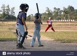 children baseball in pinar del rio cuba stock photo