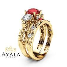 yellow gold bridal sets unique ruby and moissanite three bridal set 14k yellow gold