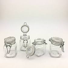clear glass canisters for kitchen amazon com adorox 4 piece set square glass jars hinge lid rubber