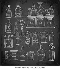 Vintage Pharmacy Cabinet Sketches Vintage Drugstore Objects On Blackboard Stock Vector