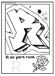 fun to color graffiti letters to help kids learn the spanish