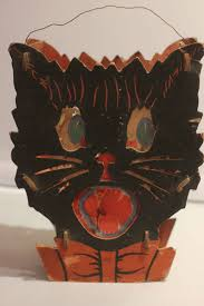 vintage halloween illustration vintage 40 u0027s halloween black cat face cardboard lantern paper