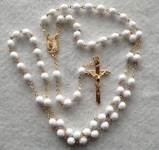 white rosary rosaryandchaplets five decade rosary