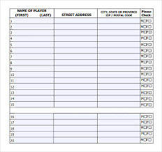 sports roster template player roster template player roster