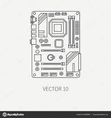 papier peint bureau pc ligne plate vecteur partie icône carte mère d ordinateur style