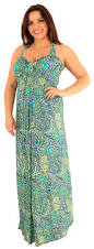 new womens plus size tropical printed knot maxi halter neck maxi
