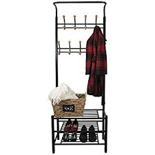 amazon com black metal and bonded leather entryway shoe bench