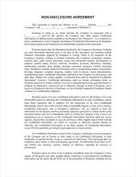 free legal form non disclosure agreement template