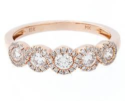 diamond halo rings images Certified five stone diamond halo band ring in 18k rose gold si1 jpg
