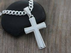 silver men u0027s cross necklace stainless steel cross by organikx