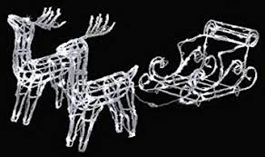 Amazon Uk Outdoor Christmas Decorations by 160 Led White Acrylic Reindeer Sleigh Outdoor Christmas Decoration