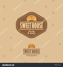 sweet house sweet house logo croissant letters brown stock vector 628061861