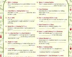 free printable christmas song lyric games christmas cards etsy
