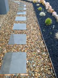 flooring bluestone pavers step with gravel and mini garden for