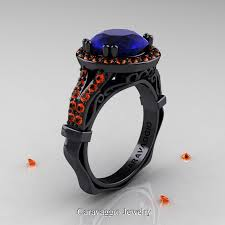 sapphire wedding ring caravaggio 14k black gold 3 0 ct blue and orange sapphire