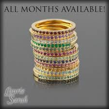stackable birthstone rings three stackable mothers ring with milgrain set of three stacking