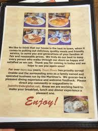 town house restaurant menu
