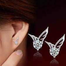 korean earings new korean fashion silver jewelry angel wings ear