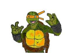 draw michelangelo teenage ninja turtles shadows