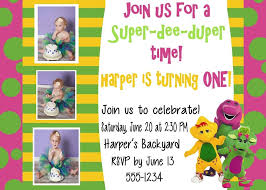 theme invitations invitation barney theme
