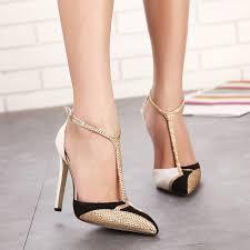 2017 rhinestone high heels women pumps pointed stiletto heels