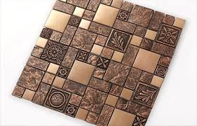 copper brown resin sticker fireplace kitchen backsplash wall tiles