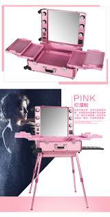 rolling makeup case with lighted mirror pink led yellow light rolling studio makeup artist cosmetic case