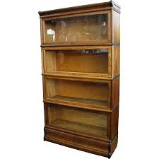 antique macey oak 4 section stacking barrister bookcase from