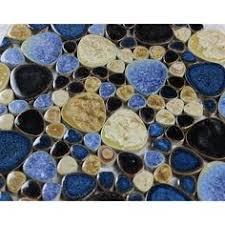 glazed porcelain pebble tile kitchen backsplash bathroom wall tile