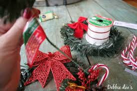Dollar Tree Christmas Items - dollar store christmas wreaths in the kitchen debbiedoos