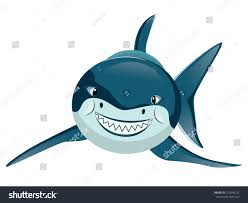 cartoon great white shark big teeth stock vector 213044131