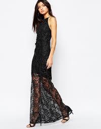 lipsy lace glitter maxi dress in black lyst
