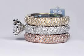 women s engagement rings diamond cushion engagement 3 band ring 14k multi tone gold