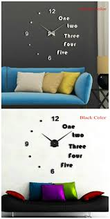silver color mirror diy clock luxury modern 3d wall clock for home