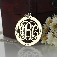 Monogrammed Sterling Silver Necklace Family Monogram Name Necklace Sterling Silver