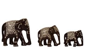 wholesale set of 3 wooden elephant statues figurine sculpture with