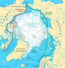 world map oceans seas bays lakes arctic sea routes map with northwest passage and northern