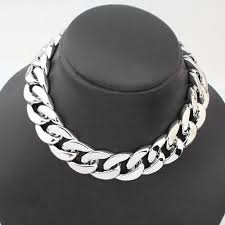 silver curb necklace images Shiny light silver chunky aluminium curb chain necklace chandi ki jpg