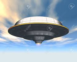 alien spaceship in the sky 3d stock photo picture and royalty